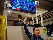 09 OCTOBER 2018 - SEOUL, SOUTH KOREA: in the Noryangjin Fish Market. The auctions start about 01.00 AM and last until 05.00 AM. Noryangjin Fish Market is the largest fish market in Seoul and has been in operation since 1927. It opened in the current location in 1971 and was renovated in 2015. The market serves both retail and wholesale customers and has become a tourist attraction in recent years.           PHOTO BY JACK KURTZ