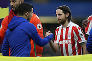 Joe Allen of Stoke City shakes hands with Eden Hazard of Chelsea before k/o. Premier league match, Chelsea v Stoke city at Stamford Bridge in London on Saturday 31st December 2016.<br /> pic by John Patrick Fletcher, Andrew Orchard sports photography.