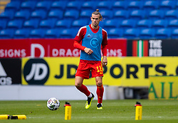 CARDIFF, WALES - Sunday, September 6, 2020: Wales' captain Gareth Bale during the pre-match warm-up before the UEFA Nations League Group Stage League B Group 4 match between Wales and Bulgaria at the Cardiff City Stadium. (Pic by David Rawcliffe/Propaganda)