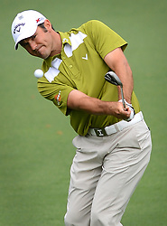 April 12, 2013 - Augusta, GA, USA - Trevor Immelman chips his ball onto the second green at Augusta National Golf Club during second round action of the Masters Tournament at Augusta National Golf Club, Friday, April 12, 2013, in Augusta, Georgia. (Credit Image: © Jeff Siner/TNS/ZUMAPRESS.com)