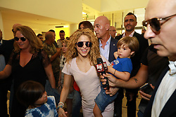 Colombian singer Shakira arrives with her children to Beirut Rafic Hariri Airport in Beirut, Lebanon on July 12, 2018. Shakira had a concert in Lebanon and visit to the northern Lebanese mountain village of Tannourine where her paternal grandmother was born. Photo by Balkis Press/ABACAPRESS.COM