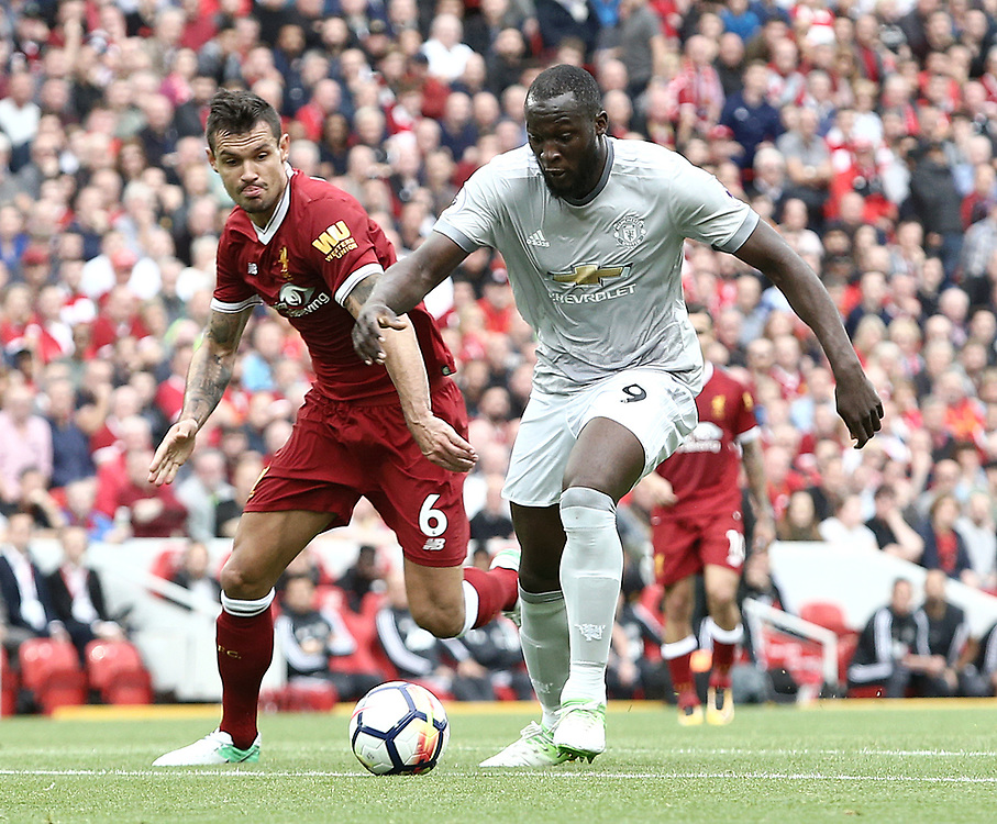 Manchester United's Romelu Lukaku under pressure from Liverpool's Dejan Lovren<br /> <br /> Photographer Rich Linley/CameraSport<br /> <br /> The Premier League - Liverpool v Manchester United - Saturday 14th October 2017 - Anfield - Liverpool<br /> <br /> World Copyright © 2017 CameraSport. All rights reserved. 43 Linden Ave. Countesthorpe. Leicester. England. LE8 5PG - Tel: +44 (0) 116 277 4147 - admin@camerasport.com - www.camerasport.com