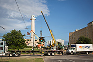 Friday, May 19, 2017, New Orleans, LA,  Confederate statue of  General Robert E. Lee being removed from Lee Circle after a full day of preperations to lift it off a base by masked workers. It was the last of four Confederate-era monuments to be removed after a proposal by Mayor Mitch Landrieu to remove the monuments was approved by the city council in 2015.