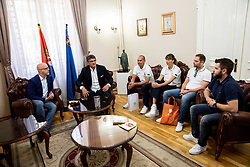 Luc Vergoossen of FIBA and Darko Bulatović, mayor during Reception of Women's Eurobasket 2019 teams and FIBA officials at Mayor of City of Nis, on June 29, 2019 in City hall, Nis, Serbia. Photo by Vid Ponikvar / Sportida