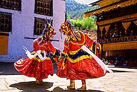 Dance of the Lord of Death and his consort,, Paro Tsechu (festival), Paro, Bhutan