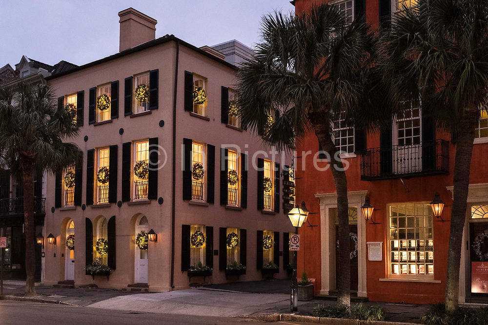 Historic Charleston housing  and architecture during the Christmas festivities, South Carolina, USA.