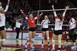 19 November 2010: Redbird volleyball celebration during an NCAA volleyball match between the Sycamores of Indiana State and the Illinois State Redbirds at Redbird Arena in Normal Illinois.
