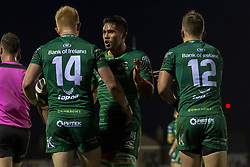 November 3, 2018 - Galway, Ireland - Darragh Leader of Connacht celebrates scoring with Jarrad Butler and Tom Farrell during the Guinness PRO14 match between Connacht Rugby and Dragons at the Sportsground in Galway, Ireland on November 3, 2018  (Credit Image: © Andrew Surma/NurPhoto via ZUMA Press)