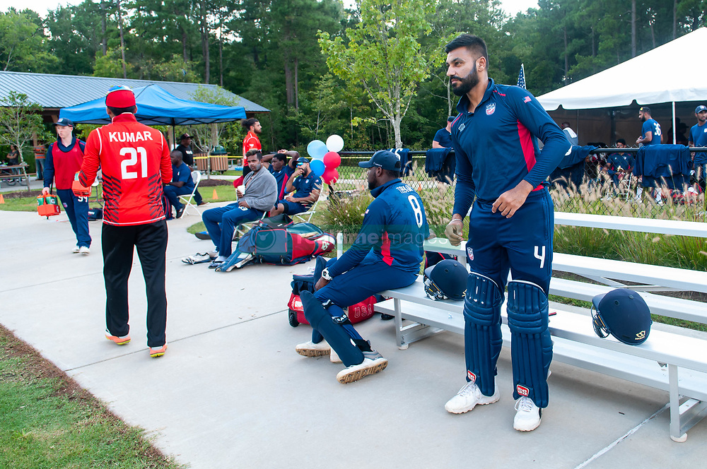 September 22, 2018 - Morrisville, North Carolina, US - Sept. 22, 2018 - Morrisville N.C., USA - Team USA JASKARAN MALHA (4) stretches before the ICC World T20 America's ''A'' Qualifier cricket match between USA and Canada. Both teams played to a 140/8 tie with Canada winning the Super Over for the overall win. In addition to USA and Canada, the ICC World T20 America's ''A'' Qualifier also features Belize and Panama in the six-day tournament that ends Sept. 26. (Credit Image: © Timothy L. Hale/ZUMA Wire)