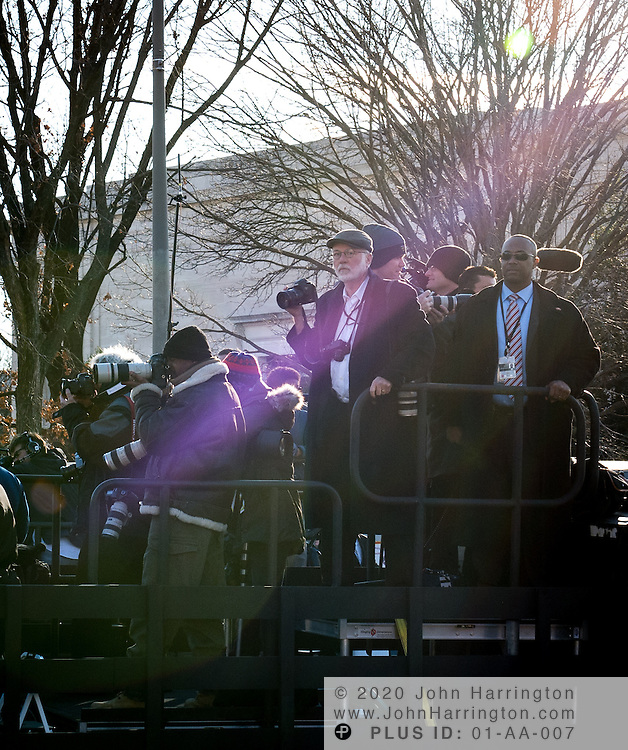 The press trucks preceeding the President's limousine during the 57th Presidential Inauguration of President Barack Obama at the U.S. Capitol Building in Washington, DC January 21, 2013.
