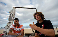 Fifa Brazil 2013 Confederation Cup / <br /> Brazil National Team - ( Sao Conrado Beach - Rio de Janeiro , Brazil ) -<br /> Thiago Silva (Left ) and David Luiz (Right) player of Brazil - Interview