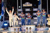 MOTORSPORT - WORLD RALLY CHAMPIONSHIP 2011 - RALLY SWEDEN / RALLYE DE SUEDE - 10 TO 13/02/2011 - KARLSTAD (SWE) - PHOTO : FRANCOIS BAUDIN /  DPPI - <br /> 03 MIKKO HIRVONEN / JARMO LEHTINEN - FORD FIESTA RS WRC - FORD MSPORT ABU DHABI WORLD RALLY TEAM - AMBIANCE WINNER PODIUM  06 MADS OSTBERG / JONAS ANDERSSON - FORD FIESTA RS WRC - M-SPORT STOBART FORD WORLD RALLY TEAM - 04 JARI-MATTI LATVALA / MIIKKA ANTTILA - FORD FIESTA RS WRC - FORD MSPORT ABU DHABI WORLD RALLY TEAM -