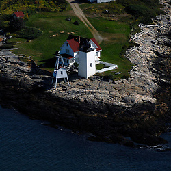 Aerial view of the Burnt Coat Harbor LighthouseBar Harbor Acadia National Park Area of Maine