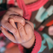 The tiny hands of a two month old baby girl while asleep. Photo Tim Clayton