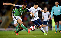 Fotball , 26. mars 2017 ,  VM-kvalifisering<br /> Nord-Irland - Norge<br /> Tarik Elyounoussi   , norge<br /> Gareth McAuley , Nord Irland<br /> World qual.<br /> Northern Ireland - Norway
