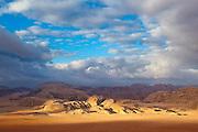 White sandstone mountains at sunrise in Wadi Rum, Jordan.