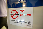 No Vaping Sign on the door of the OMU, Offender Management Unit, in Her Majesty's Prison Pentonville, London, United Kingdom. Vaping is not allowed in the landings outside the cells. (Photo by Andy Aitchison)