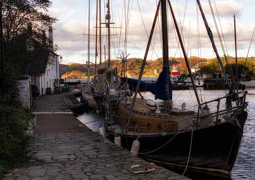 Here at the yacht basin at the Crinan terminus of the Crinan Canal, pleasure and working craft shelter. Duntrune Caastle, a fortified house, stands on the far shore, part of a bygone era of warfare, strife and subterfuge. Crinan was not always a peaceful idyll.