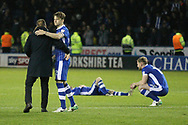 Sheffield Wednesday players dejected during the EFL Sky Bet Championship play off second leg match between Sheffield Wednesday and Huddersfield Town at Hillsborough, Sheffield, England on 17 May 2017. Photo by John Potts.