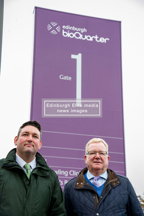 Pictured: Scottish Conservative Health spokesman Miles Briggs and Scottish Conservative leader jackson Carlaw<br /><br />Scottish Conservative Health spokesman Miles Briggs  and Scottish Conservative Leader Jackson Carlaw were at site of the new Sick Kids hospital as he unfurled a banner stating how the SNP 'have let down young patients and their families' across Scotland.
