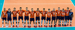 Team NL during the CEV Eurovolley 2021 Qualifiers between Croatia and Netherlands at Topsporthall Omnisport on May 16, 2021 in Apeldoorn, Netherlands