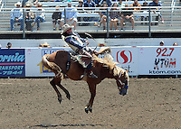 Ryan Gray, of Cheney, WA has a beauty of a ride during Sunday's Day of Champions bareback finale at the California Rodeo Salinas.