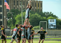 May 26, 2018 - Houston, TX, U.S. - HOUSTON, TX - MAY 26:  Utah Warriors flanker Ara Elkington (7) reaches to catch the ball during the Major League Rugby match between the Utah Warriors and Houston SaberCats on May 26, 2018 at Dyer Stadium in Houston, Texas.  (Photo by Leslie Plaza Johnson/Icon Sportswire) (Credit Image: © Leslie Plaza Johnson/Icon SMI via ZUMA Press)