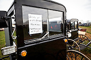 Amish buggies ready for auction during the Annual Mud Sale to support the Fire Department  in Gordonville, PA.