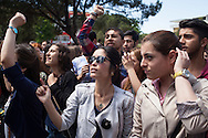 """High school students and young people protest outside the mayor's office in Soma, calling the government """"liars."""" An electrical fault caused an explosion in the shaft resulting in at least 282 workers being killed in the disaster. Soma, Western Turkey."""