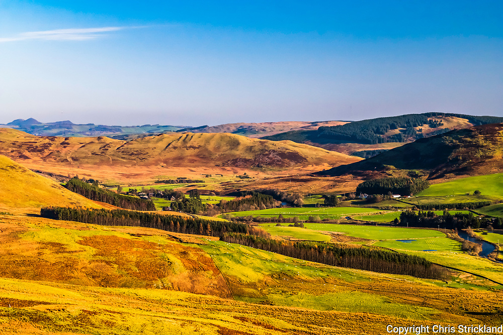 Ettrick, Scottish Borders, UK. 15th November 2018. Looking across Crosslee Farm in the Ettrick valley in the Scottish Borders. The Ettrick landscape has inspired several poets and writers, from poet James Hogg (1770-1835), who was known as the 'Ettrick Shepherd', through to contemporary writers such as Alice Munro who was awared the 2013 Nobel Prize in literature.