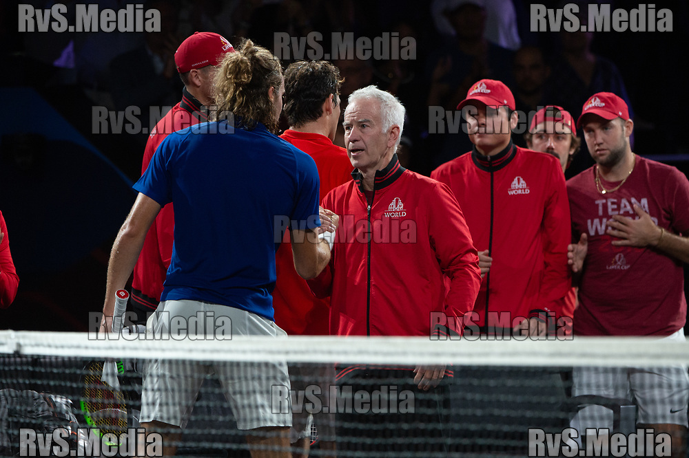 GENEVA, SWITZERLAND - SEPTEMBER 20: Stefanos Tsitsipas of Team Europe shake hands with John McEnroe, Captain of Team World during Day 1 of the Laver Cup 2019 at Palexpo on September 20, 2019 in Geneva, Switzerland. The Laver Cup will see six players from the rest of the World competing against their counterparts from Europe. Team World is captained by John McEnroe and Team Europe is captained by Bjorn Borg. The tournament runs from September 20-22. (Photo by Robert Hradil/RvS.Media)