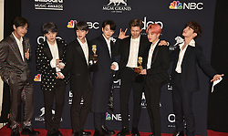May 1, 2019 - Las Vegas, NV, USA - LAS VEGAS, NEVADA - MAY 01: J-Hope, V, Jungkook, Jimin, Suga, Jin, and RM of BTS pose with the awards for Top Duo Group and Top Social Artist in the press room during the 2019 Billboard Music Awards at MGM Grand Garden Arena on May 01, 2019 in Las Vegas, Nevada. Photo: imageSPACE (Credit Image: © Imagespace via ZUMA Wire)