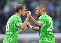 Fotball<br /> Tyskland<br /> 29.10.2011<br /> Foto: Witters/Digitalsport<br /> NORWAY ONLY<br /> <br /> 1:1 Jubel Aliaksandr Hleb, Ashkan Dejagah (Wolfsburg)<br /> Bundesliga, VfL Wolfsburg - Hertha BSC Berlin