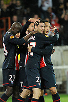 FOOTBALL - UEFA EUROPA LEAGUE 2011/2012 - GROUP STAGE - GROUP F - PARIS SAINT GERMAIN v SLOVAN BRATISLAVA - 03/11/2011 - PHOTO JEAN MARIE HERVIO / DPPI - JOY JAVIER PASTORE (PSG) AFTER HIS GOAL