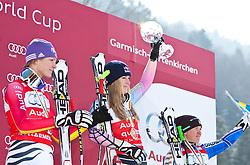 10.03.2010, Kandahar Strecke Damen, Garmisch Partenkirchen, GER, FIS Worldcup Alpin Ski, Garmisch, Lady Downhill, im Bild das Podest der Abfahrts Weltcup, zweitplazierte Riesch Maria ( GER ), Siegerin Vonn Lindsey, ( USA ), Ski Head mit der kleinen Kristallkugel und Paerson Anja, ( SWE ), Ski Head, EXPA Pictures © 2010, PhotoCredit: EXPA/ J. Groder / SPORTIDA PHOTO AGENCY