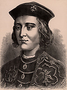 Edward IV (1442-1483) king of England March 1461 to October 1470 and April 1471-1483.  With the help of Richard Neville, Earl of Warwick, he was declared king in 1461, usurping the throne of the Lancastrian king, Henry VI. First Yorkist king of England, his reign  the country was disrupted by the Wars of the Roses.   Wood engraving c1900.