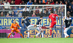 Rangers Lee McCulloch shoots over. Falkirk 0 v 2 Rangers, Scottish Championship game played 15/8/2014 at The Falkirk Stadium.