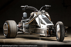Kirby Proffitt's 600hp (estimated) V8 trike with an LS 5.3 engine, C5 Corvette transmission, fuel tank in stainless frame and 18x16 rear tires at the Handbuilt Show. Austin, Texas USA. Friday, April 12, 2019. Photography ©2019 Michael Lichter.