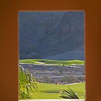 Mexico, Baja California Sur, Loreto. Villa del Palmar Loreto view of golf course.