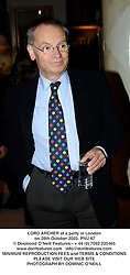 LORD ARCHER at a party in London on 28th October 2003.PNU 67