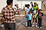 Young fans beeing photographed along side one of their Cricketing heroes Wahab Riaz, Kandy, Sri Lanka during the ICC World Cricket Cup.