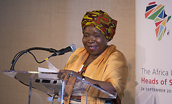 Sept. 24, 2015 - New York City, NY, United States - Nkosazana Dlamini Zuma, Chairperson of the African Union Commission speaks during a work lunch  on the occasion of Africa Urban Agenda Initiative  at the United Nations Headquarters in New York City. (Credit Image: © Luiz Rampelotto/Pacific Press via ZUMA Wire)
