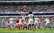 Wales' Toby Faletau collects a line out throw during the The Old Mutual Wealth Cup match England -V- Wales at Twickenham Stadium, London, Greater London, England on Sunday, May 29, 2016. (Steve Flynn/Image of Sport)