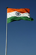 Low angle view of the flag of India blowing in the wind, New Delhi