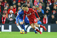 Philippe Coutinho of Liverpool goes past Vicente Iborra of Leicester City. Premier League match, Liverpool v Leicester City at the Anfield stadium in Liverpool, Merseyside on Saturday 30th December 2017.<br /> pic by Chris Stading, Andrew Orchard sports photography.