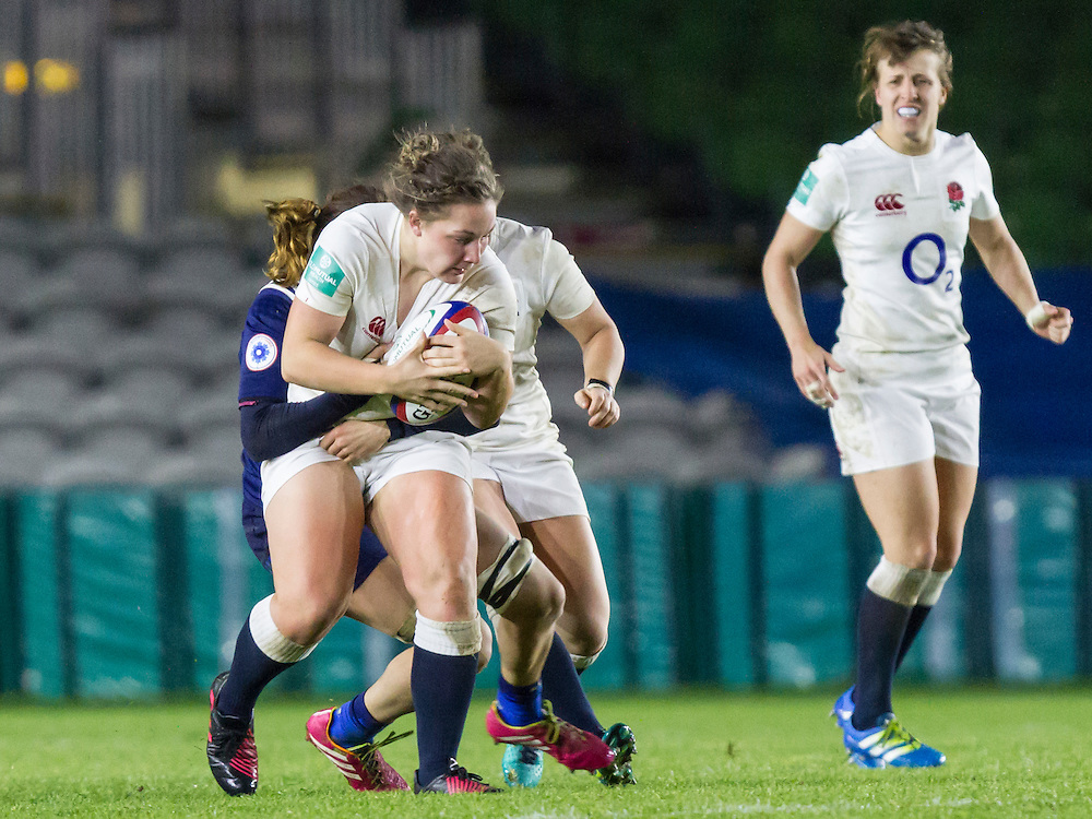 Amy Cokayne tackled, England Women v France Women in an Old Mutual Wealth Series, Autumn International match at Twickenham Stoop, Twickenham, England, on 9th November 2016. Full Time score 10-5