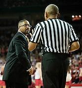 Feb 16, 2013; Fayetteville, AR, USA; Missouri Tigers head coach Frank Haith talks with a referee during a game against the Arkansas Razorbacks at Bud Walton Arena. Arkansas defeated Missouri 73-71. Mandatory Credit: Beth Hall-USA TODAY Sports