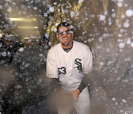 CHICAGO - SEPTEMBER 30:  D.J. Carrasco of the Chicago White Sox celebrates in the clubhouse after the game against the Minnesota Twins at U.S. Cellular Field in Chicago, Illinois on September 30, 2008.  The White Sox defeated the Twins 1-0 to win the American League Central title.  The Sox and Twins had to play a one game playoff to determine the American League Central Champion.  (Photo by Ron Vesely)