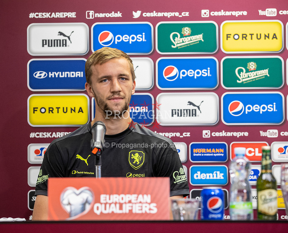 PRAGUE, CZECH REPUBLIC - Thursday, October 7, 2021: Czech Republic's Tomáš Souček during a press conference ahead of the FIFA World Cup Qatar 2022 Qualifying Group E match between Czech Republic and Wales at the Sinobo Stadium. (Pic ©FAČR)