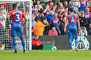 Crystal Palace midfielder Luka Milivojevic (4) prepares to take a penalty kick during the Premier League match between Crystal Palace and Huddersfield Town at Selhurst Park, London, England on 30 March 2019.